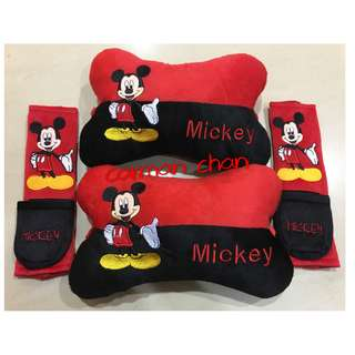 MICKEY MOUSE CAR CUSHION SEAT HEADREST SAFETY BELT SEATBELT HOLDER