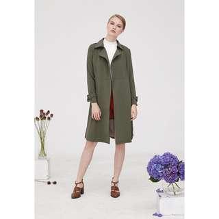 Megagamie Trench Coat in Olive