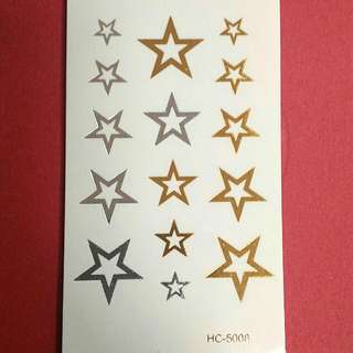 Gold and Silver Stars Temporary Tattoo