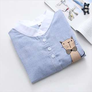$10 cute korean fashion • ULZZANG BLUE LONG SLEEVE EMBROIDERY BLOUSE
