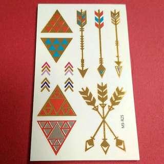 Gold Arrows Temporary Tattoo