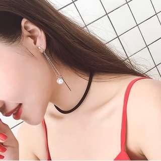 Pearl & Bar Drop Clip On Earrings