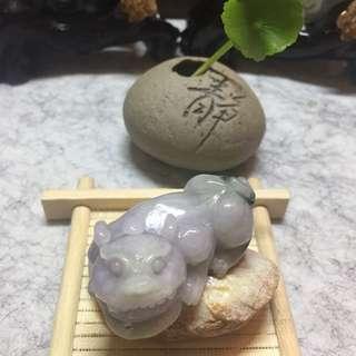 天然緬甸翡翠A玉 -《淡紫貔貅》掛飾/吊牌/擺件/車掛