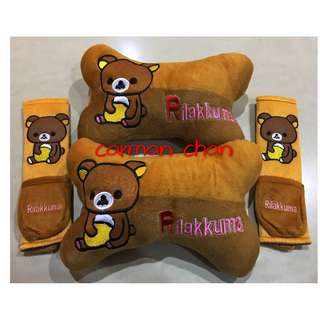 RILAKKUMA CAR CUSHION SEAT HEADREST SAFETY BELT SEATBELT HOLDER