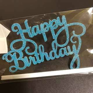 INSTOCKS! Happy Birthday Cake Topper Curve Words in Blue / decorations