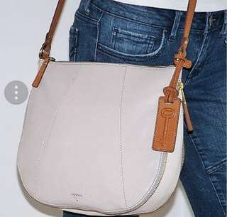 Fossil Gwen Gray White Tan Leather Expandable Hobo Crossbody Bag