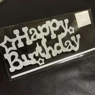 INSTOCKS! Happy Birthday Cake Topper with stars in silver / party decorations