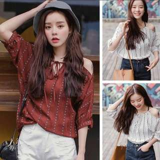 Cold shoulder maroon Korean inspired cut out top