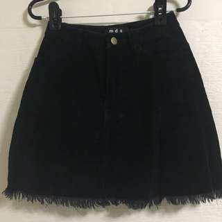 MDS Suede Black Embroided Skirt