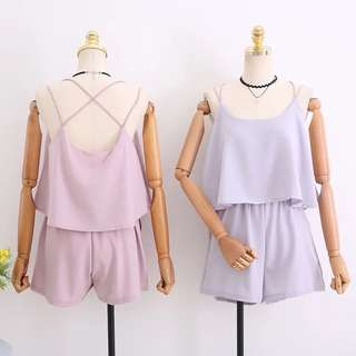Cross Back Romper with Pockets