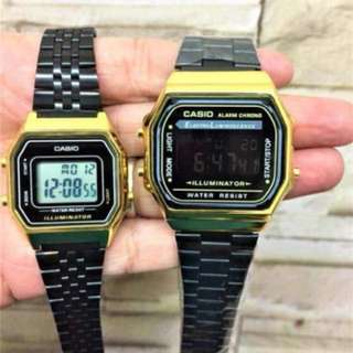 Casio Vintage Watch Couple Watch (Gold Black Edition) Original & Complete