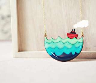 Strangely Yours Little Red Boat Nautical Handmade Necklace