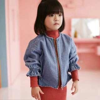 韓國 女童 牛仔 外套 深藍 淺藍 新款 2018
