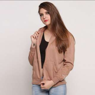 Jaket hoodie zipper coklat mocca polos wanita M - XL