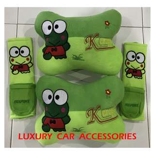 KEROPPI FROG CAR CUSHION SEAT HEADREST SAFETY BELT SEATBELT HOLDER