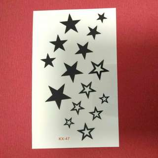 Black Stars Temporary Tattoo