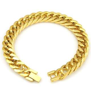 Men Bracelet 316L Gold Stainless Steel Bracelet & Bangle Male Accessory Hip Hop Party Rock Jewelry