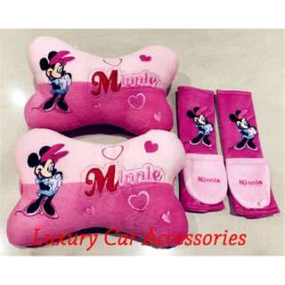 MINNIE MICKEY MOUSE CAR CUSHION SEAT HEADREST SAFETY BELT SEATBELT HOLDER