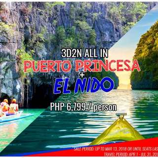 Go to puerto princesa with airfare and hotel accomodation for 3 days