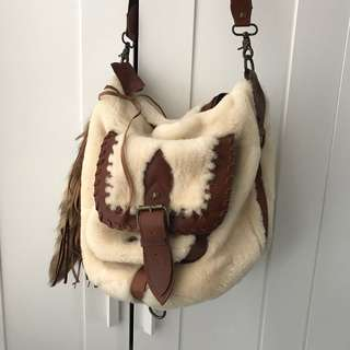 Real fur Sherpa leather bag
