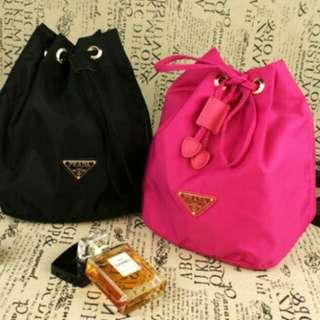 Prada Black Pink Blue Canvas Makeup Bag