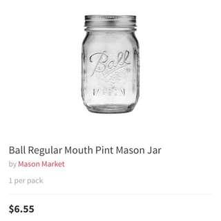 BALL 16oz Mason Jar (Reg Mouth)