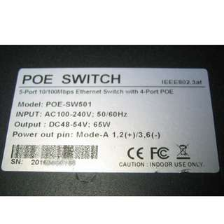 5-port POE Fast Ethernet Switch 10/100Mbps