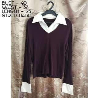 Collared Long sleeve Top - Can fit up to XXL