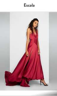 Escala red silk dress fame and partners