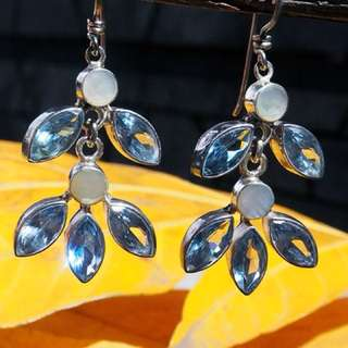 Silver Earring with Aqua Crystal name BLUE BELLS