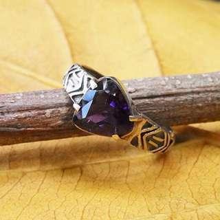 Vintage Silver Ring with Purple Crystal name Bermuda