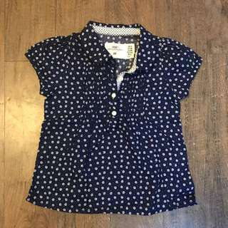 Navy Blue Floral H&M top for 6-9 month old