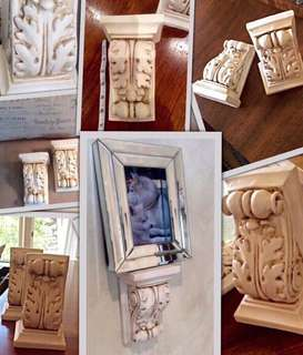2 smaller plaster brackets painted(antiqued) by a designer and originally purchased at Elte .
