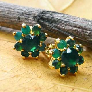 Vintage Gold Plated Earring with Green Crystal name KALE