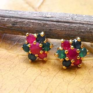 Gold Plated Earring with Multicolor Crystal name DAHLIA