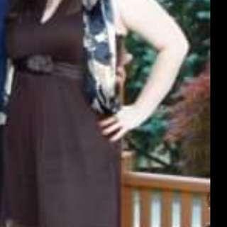 Silk brown halter top dress
