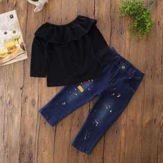 Baby Girl Black Off Shoulder Top +Denim Jeans + Headband Set.