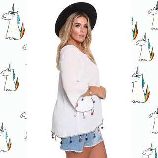 Plus Size Camisetas Long Sleeve Top