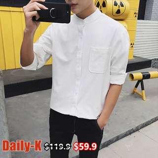 18年春夏貨品#XZ101A#C068 低領鬆身淨色長袖shirt
