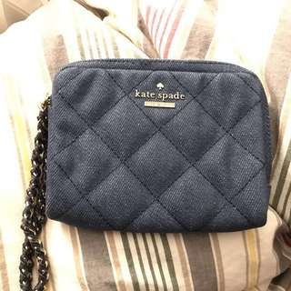 100% Authentic Kate Spade Essa Emerson Place Quilted Denim Wristlet PWRU4410 Pouch Clutch