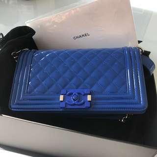 Boy Chanel Medium Marine Blue Patent Leather