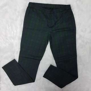 [R] Uniqlo Jeggings Ankle Spandex Cotton Plaid Green Blue Checkered Garter Pants