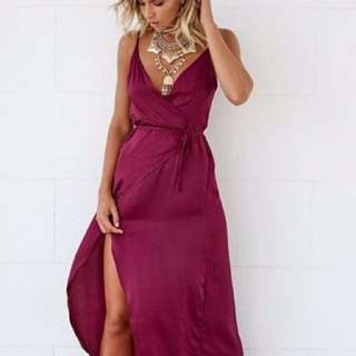 Wine coloured wrap dress
