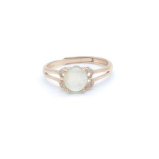 925 純銀鍍金糯冰翡翠戒指   925 Sliver Gold Plated Jade Ring