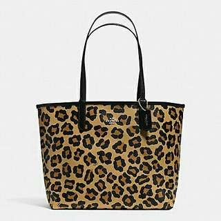 AUTHENTIC COACH RIVERSIBLE CITY TOTE  WITH BEAST PRINT CANVAS  ( F36643 )