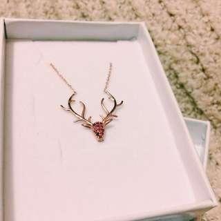 玫瑰馴鹿925純銀項鍊