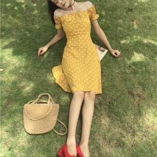 PO 🌟 Chic Off Shoulder Polka Dots Yellow Dress