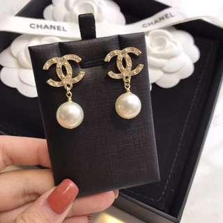閃鑽珍珠耳環