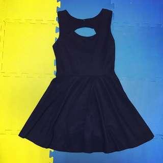 🚚 後鏤空典雅深藍色小禮服/洋裝 #超取再七折