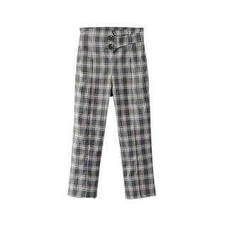 🚚 「新品推薦」韓國時尚百搭復古扭扣格子高腰西裝褲